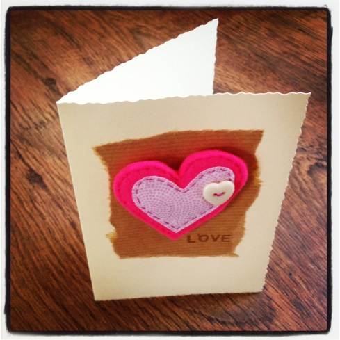 Detachable bright pink heart card